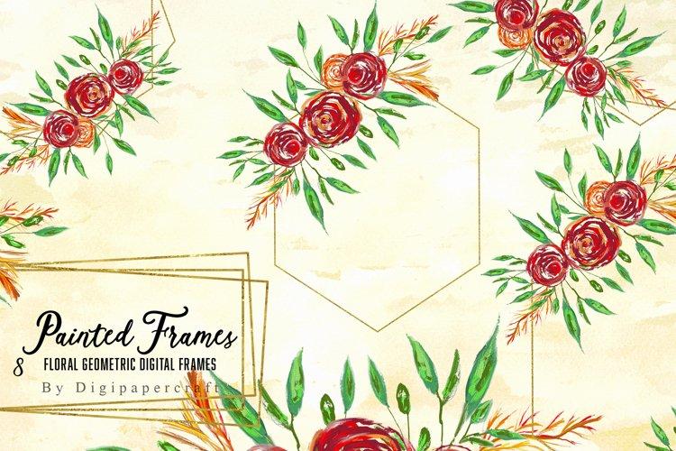 Geometric floral digital frames, Wedding floral bouquet