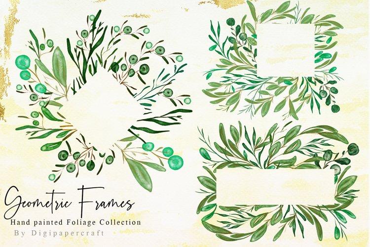 Watercolor Greenery Digital Clipart, Foliage clipart, frames