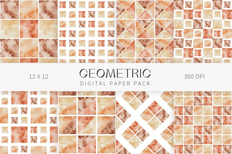 Watercolor modern geometric seamless digital paper pack