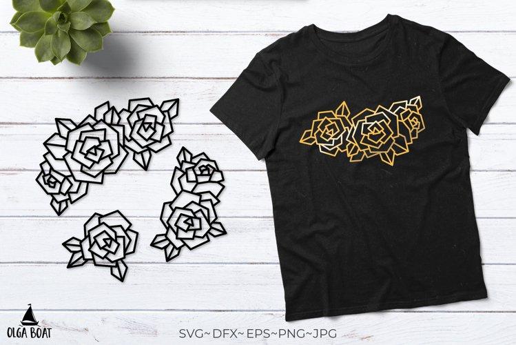 Rose svg Rose border Rose gold Rose outline Flower cut files
