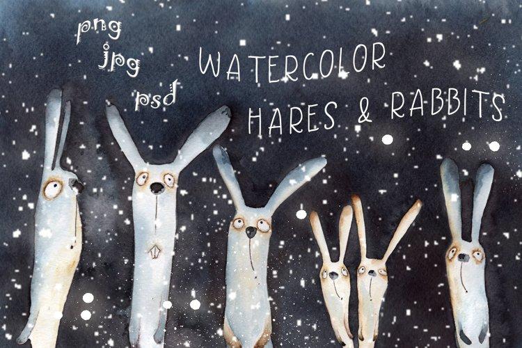 Hares and rabbits watercolor
