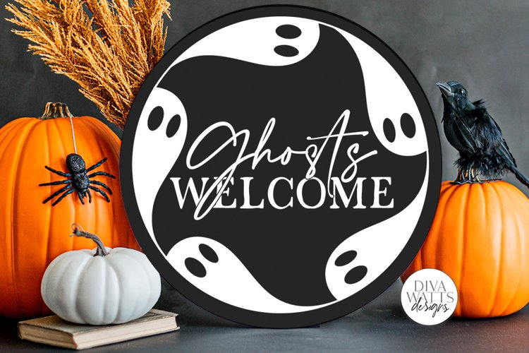 Ghosts Welcome SVG | Halloween Round Sign Design example image 1