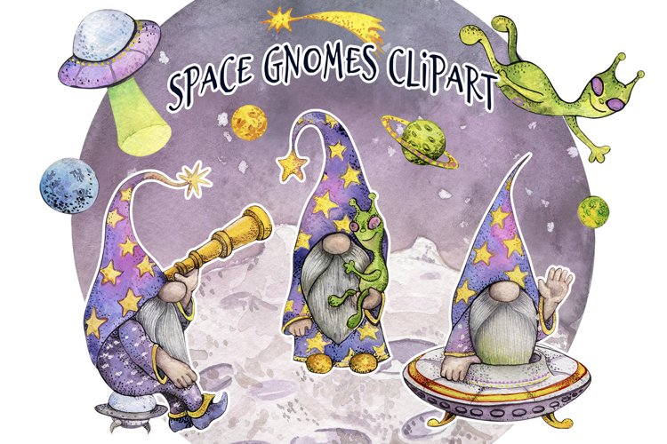 Watercolor Outer Space Gnome Clpart png, Green Alien, Galaxy