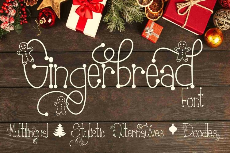 Gingerbread Font | Christmas Font | Multilingual | Glyphs example image 1