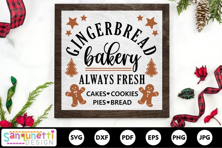 Gingerbread bakery SVG Christmas sign example image 1