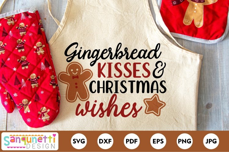 Gingerbread kisses & Christmas SVG example image 1