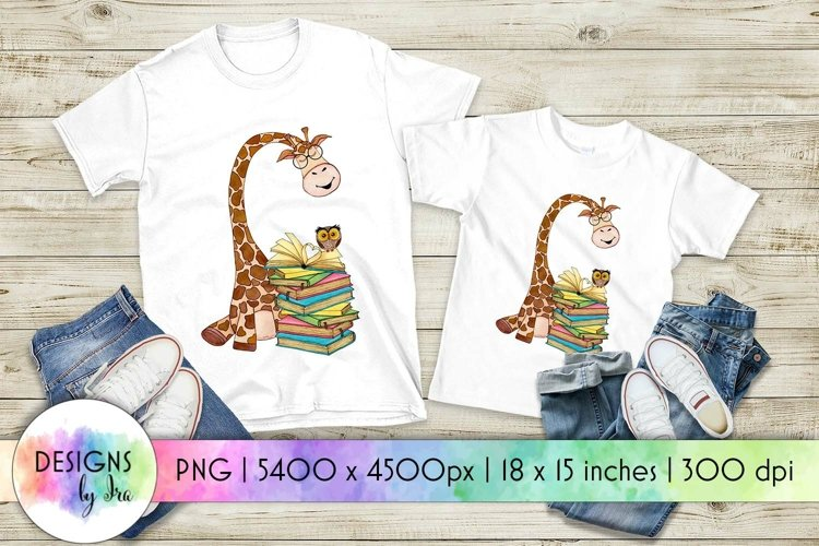 Book Lover Sublimation   Giraffe with Books Print example image 1