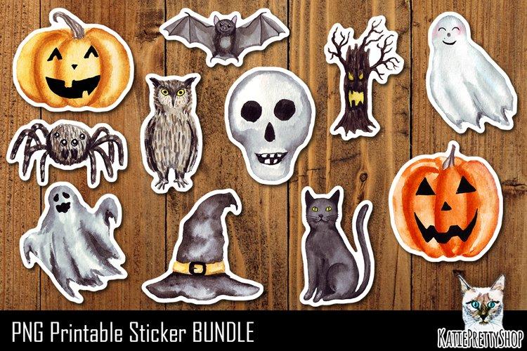 Halloween Printable Stickers. Print and cut Sticker Bundle.