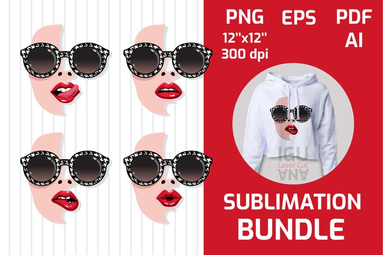 Girl Faces BUNDLE, sunglasses, sexy red lips sublimation PNG