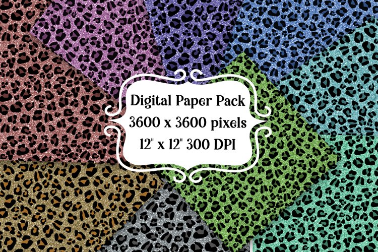 Glitter Leopard Digital Paper Pack | Backgrounds | Textures example image 1