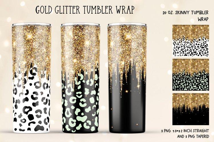 Glitter Drip Tumbler Wrap. 20 Oz Skinny Tumbler Gold Wrap