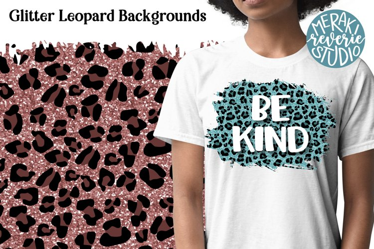Glitter Leopard Print Backgrounds for Sublimation example image 1