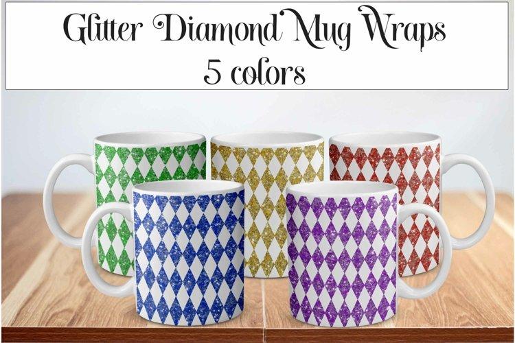 Glitter Diamond Sublimation Mug Wrap Bundle 5 Designs example image 1