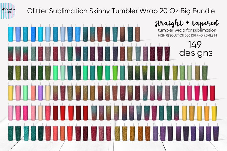 Glitter Skinny Tumbler Sublimation Wrap 20 Oz Bundle
