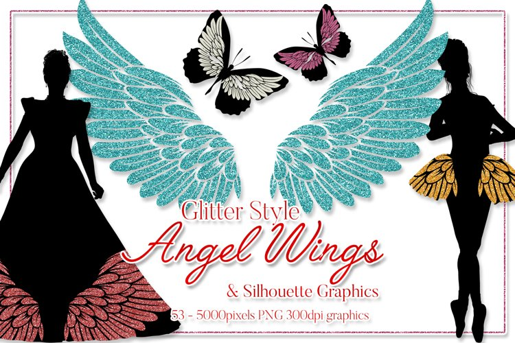Angel Wings Clipart - Glitter Style - Plus Silhouette Design