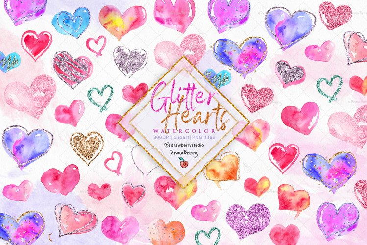 Glitter Hearts Love on Watercolor Clipart  Drawberry CP077 example image 1