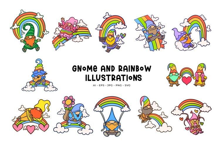 Gnome And Rainbow Illustrations