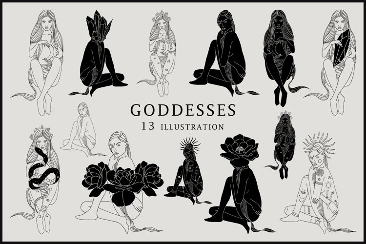 Abstract Goddesses Clipart example image 1