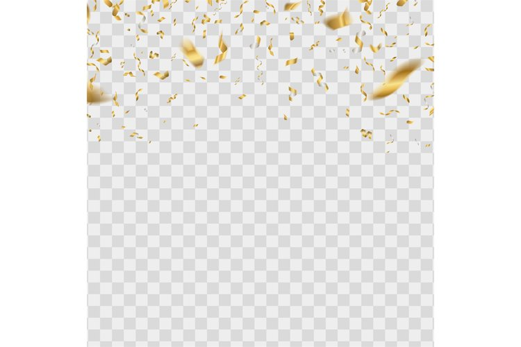 Gold shiny confetti. Golden falling serpentine. Realistic ye