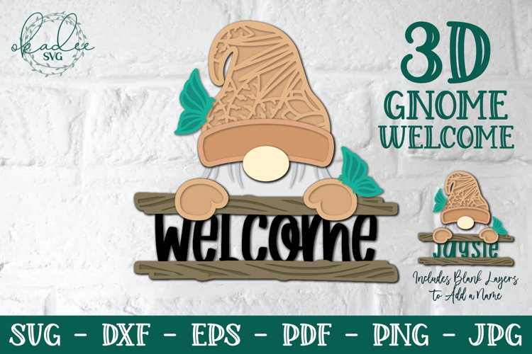 3D Gnome SVG, Layered Gnome, Welcome Sign, Split Monogram