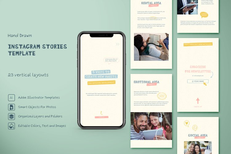 Hand Drawn Instagram Step-by-Step Stories Templates