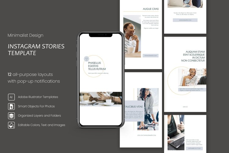 Blue and White Minimalist Instagram Stories Templates