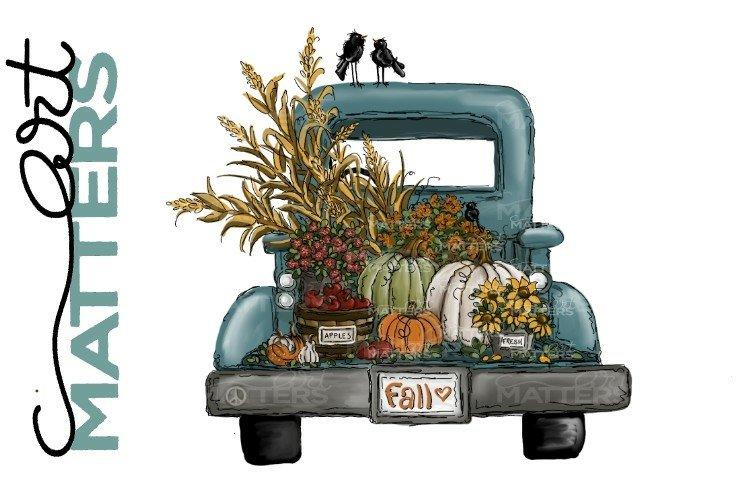 Fall Vintage Truck Apples Pumpkins - Hand Painted - 300 DPI