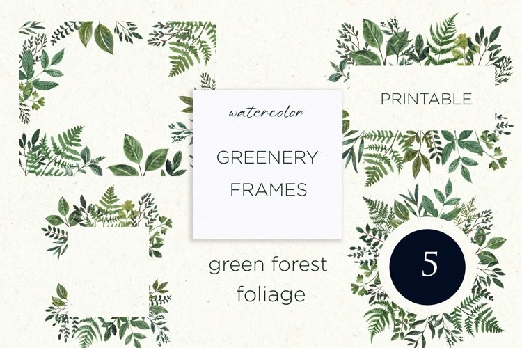 Watercolor Wildflower Greenery Frame Floral Wreath Clipart