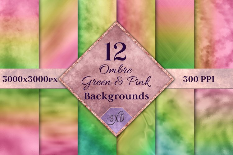 Ombre Green and Pink Backgrounds - 12 Image Set example image 1