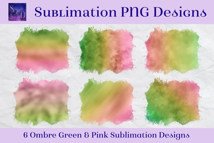 Sublimation PNG Designs - Ombre Green & Pink example image 1