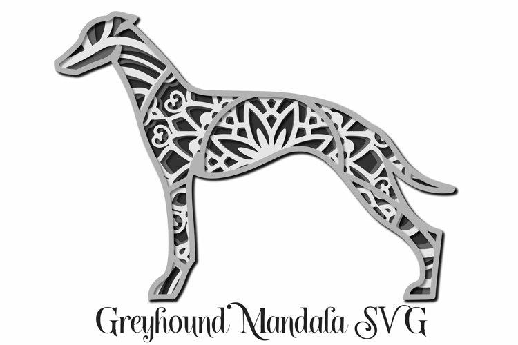 Greyhound Mandala Layered SVG - Dog Breed Paper Cutting example image 1