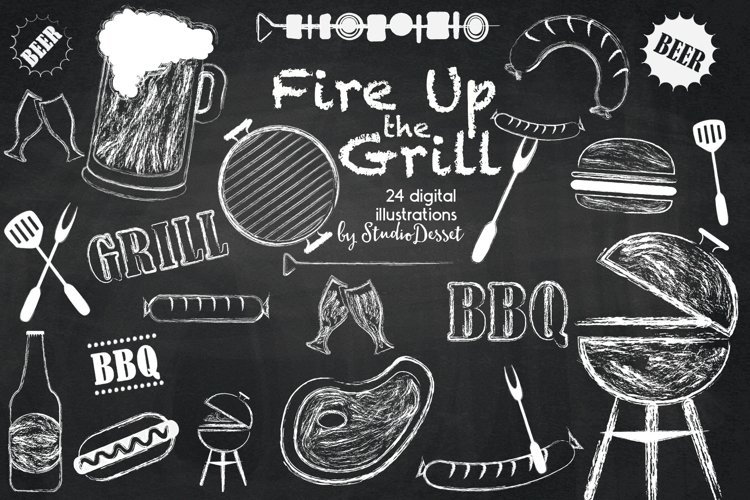 BBQ Chalk Cliparts | Grill Chalkboard Illustrations