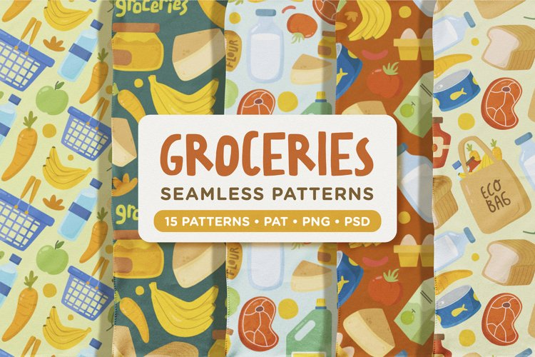 Cute Daily Groceries Seamless Patterns example image 1