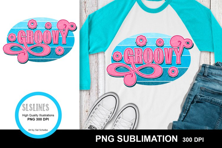 Groovy Retro Style Sublimation Design PNG - Vintage Wear example image 1