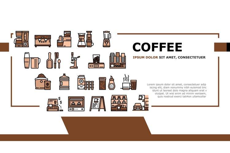 Coffee Shop Equipment Landing Header Vector example image 1