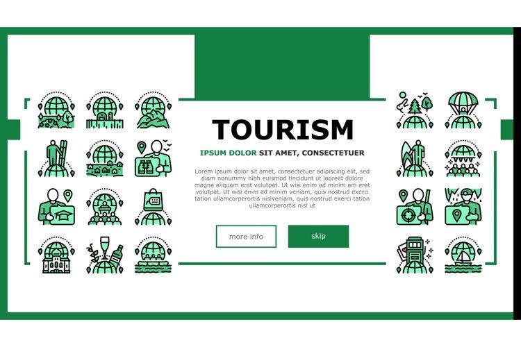 Tourism Travel Types Landing Header Vector