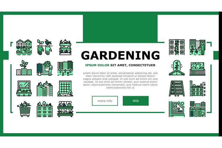 Urban Gardening Eco Landing Header Vector