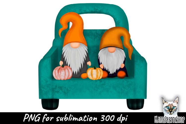 Truck with Gnomes and Pumpkins Sublimation Design, fall yall