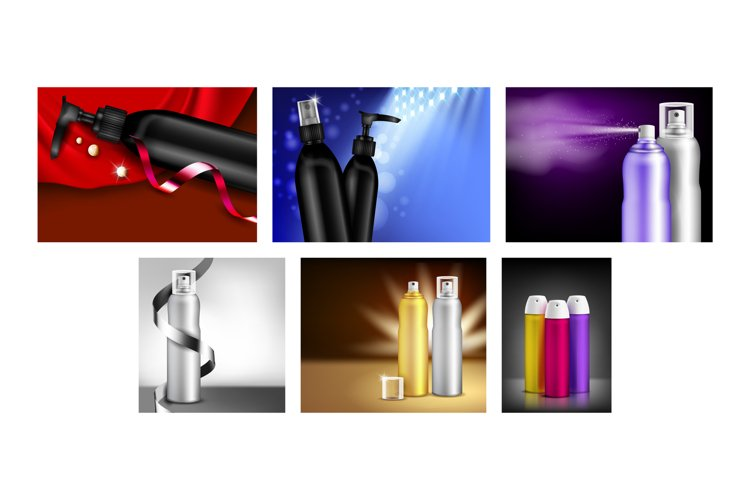 Hairspray Creative Promotional Posters Set Vector