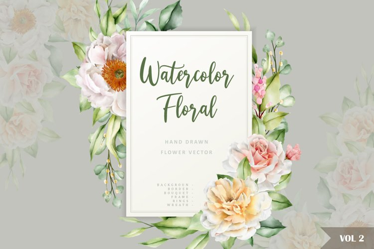 watercolor floral and leaves invitation card set