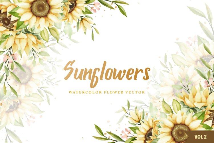 watercolor sunflowers wedding invitation card bundle