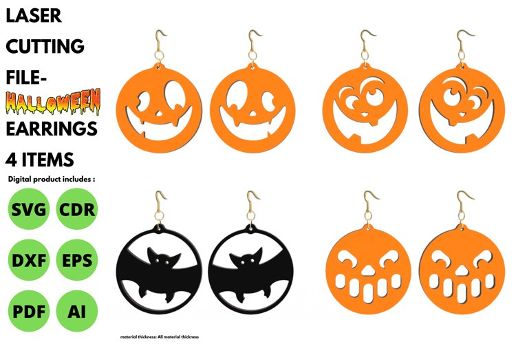 Halloween Earrings - 4 items - SVG - laser cutting file