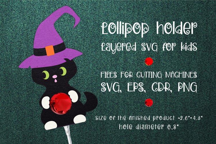 Halloween Black Cat Lollipop Holder Template SVG