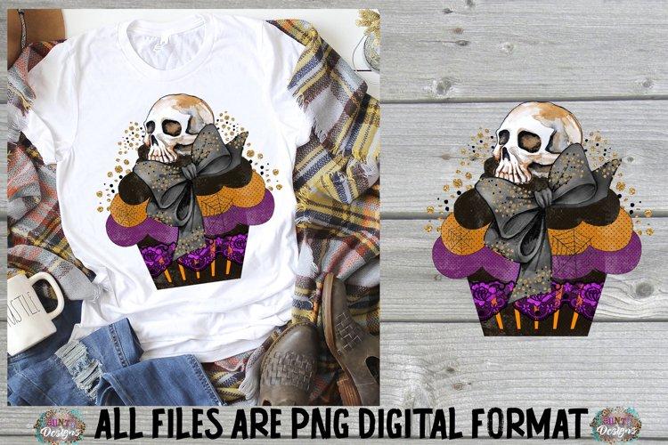 Halloween Cupcake Skull Sublimation Design example image 1