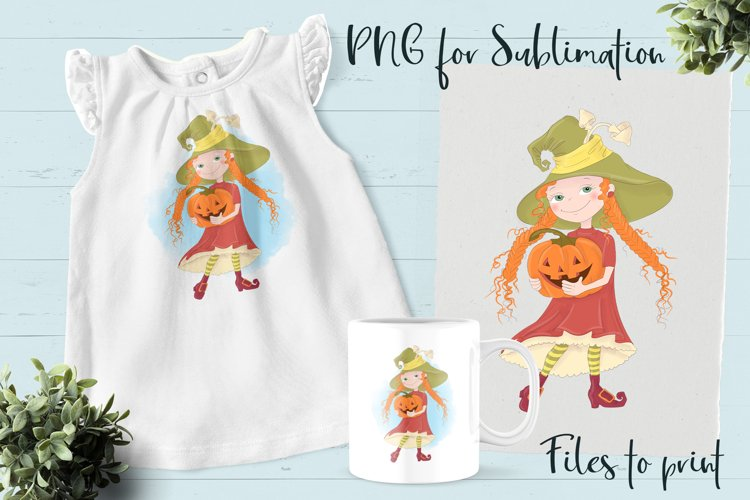 Halloween little witch sublimation. Design for printing.