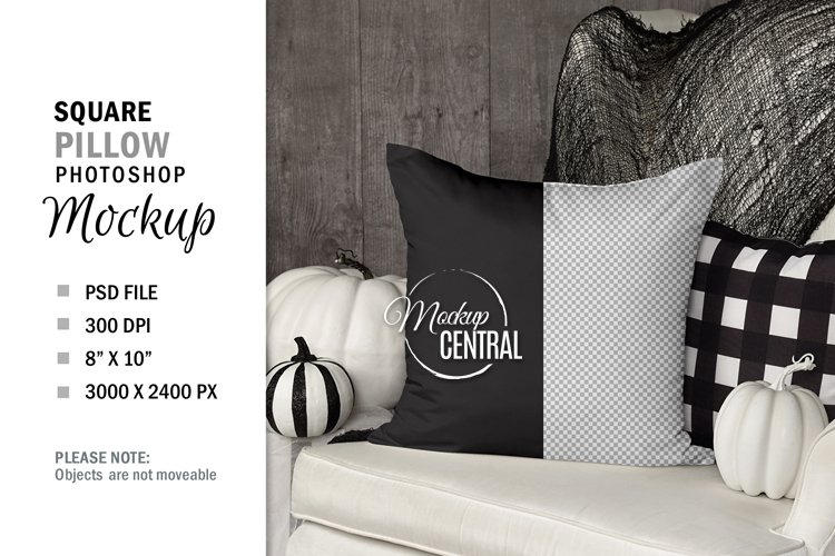 Halloween Square Pillow Mockup PSD on Chair