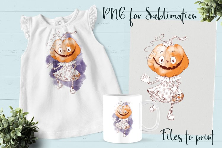Halloween pumpkin girl sublimation. Design for printing.
