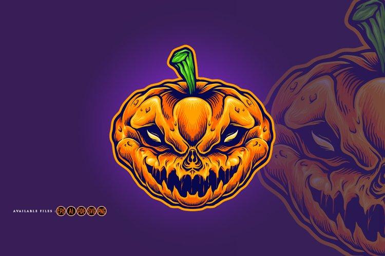 Halloween Skull Monster Carved Mascot example image 1