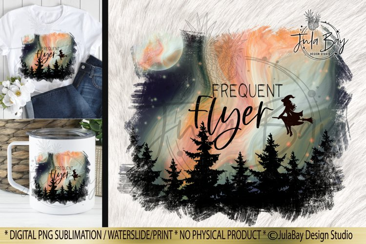 Halloween Sublimation Design Frequent Flyer Witch Moon PNG with northern lights full moon and trees and stars with witch in night sky