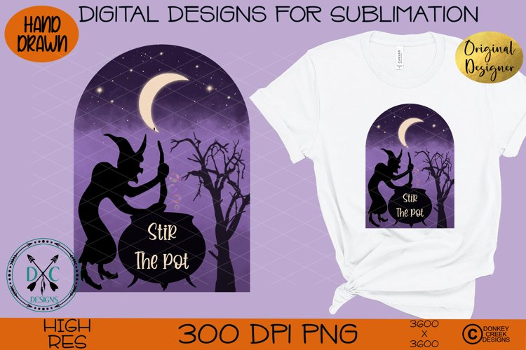 Halloween Hand Drawn Witch Sublimation Design- Stir the pot example image 1